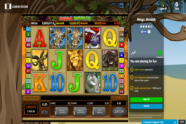 casino room mega moolah screenshot